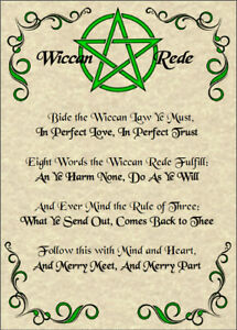 Wiccan-Rede-Poster-5x7-Wicca-Pagan-New-Age-Goth-Witch-Spirit-Pentacle-Goth-Magic