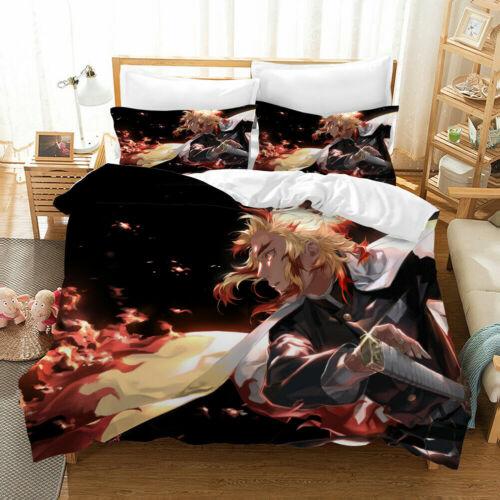 Demon Slayer Bedding Set 3PCS 3D Print Duvet Cover Pillowcase UK Single Double