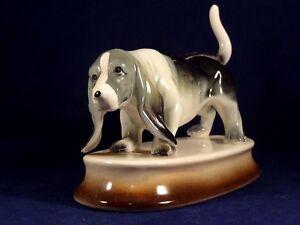 Ancienne Statue Porcelaine Chien De Chasse Basset Artois Bleu De Gascogne An.40 F1bmetrc-08005334-706750947
