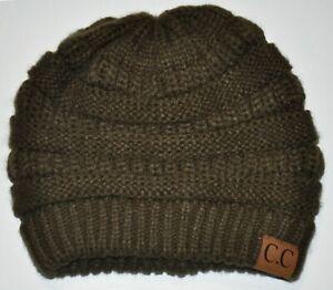 C.C. Women s One Size Dark Olive Green   Brown Beanie Hat Knit ... c919a2444d6
