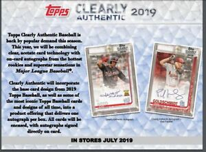 2019-TOPPS-CLEARLY-AUTHENTIC-BASEBALL-HOBBY-BOX-1-MLB-PLAYER-SIGNED-PIC-PRESALE