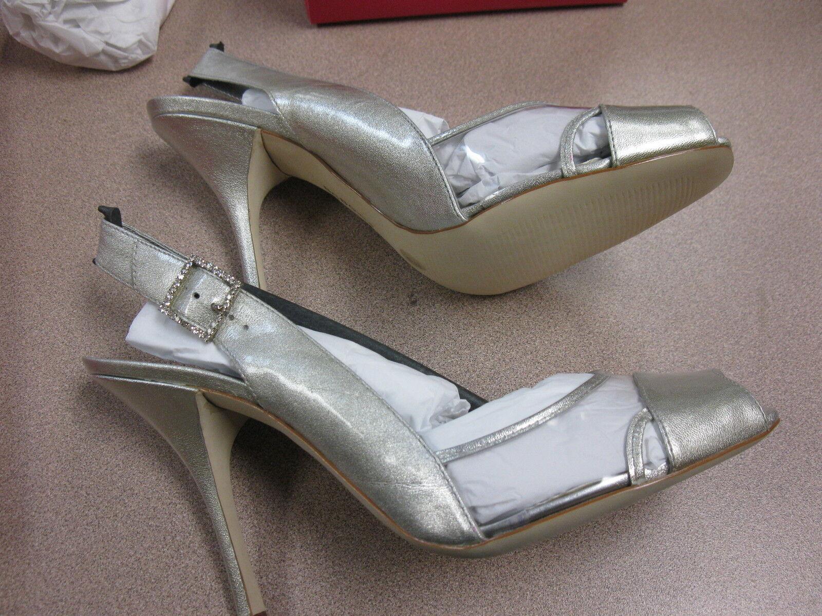bcbg girls silver rocka slingback sandals. size 10