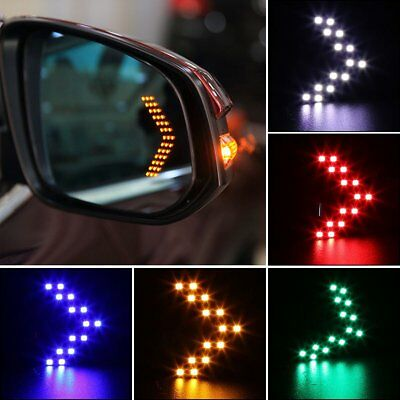 2x 14 SMD LED Arrow Panel Car Rear View Mirror Indicator Turn Signal Light Lamp
