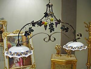 Lampadari In Ferro E Ceramica : Lampadario in ferro battuto e ceramica di st stefano realizzato a
