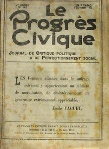 Le Progrès Civique N°55 1920 - Journal De Critique Politique - Henri Dumay Rare