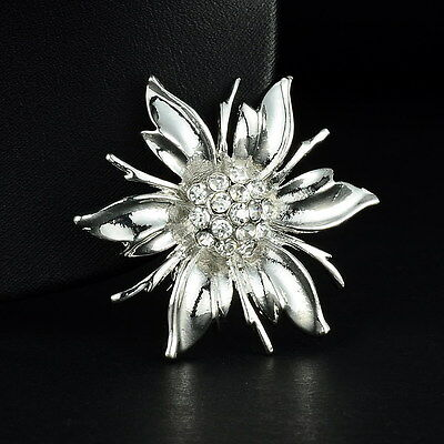 New Full Crystal Bonquet Flower Silver Brooch Pins Wedding Party Jewellery Gift