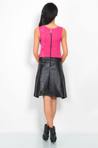 Trendy Women/'s Dress Eco Leather Bow Zip Crew Neck Sleeveless Size 8-12 8300