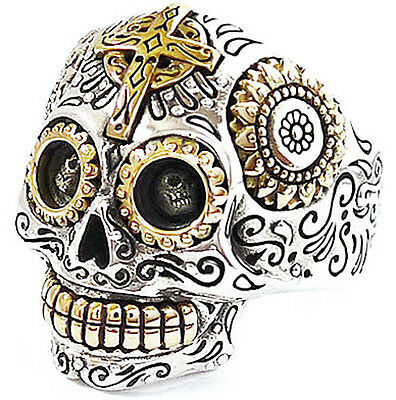 BIG MEXICAN SKULL GOLD CROSS SUNFLOWER STERLING 925 SILVER RING Sz 8