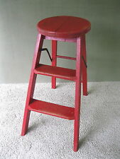 Antique Primitive 3-Step Stepstool Vtg Wood Stool Ladder Round Seat, Red Paint