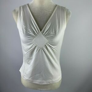 NWT-DONCASTER-Medium-Sleeveless-Blouse-White-148CM29-STRETCH