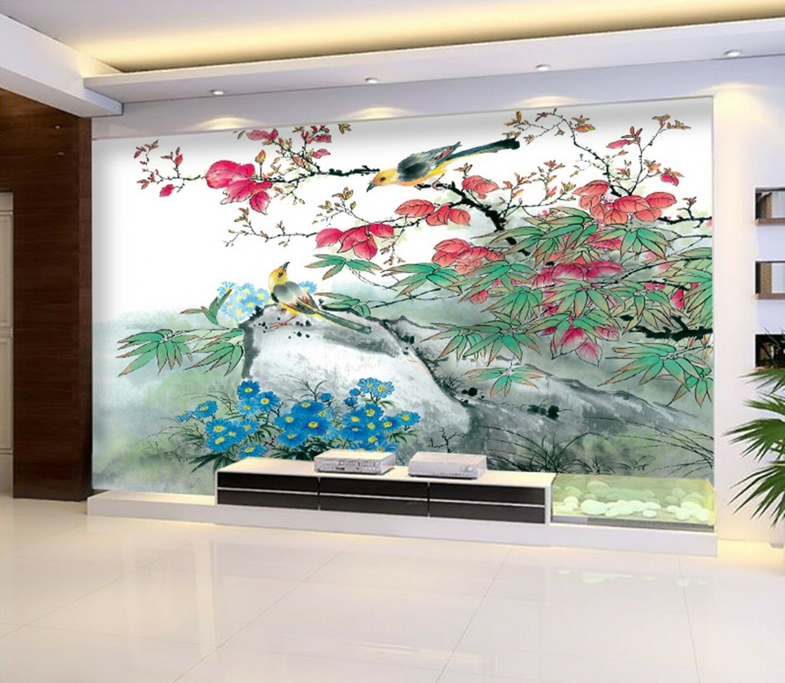3D Flower tree bird Wall Paper Print Decal Wall Deco Indoor wall Mural