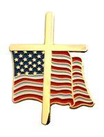 American Flag Cross 3/4 Lapel Pin Free Shipping