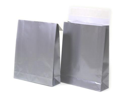 100er Pack Geschenktaschen XL in Silber für Waren u Versand mit Klebeverschluss
