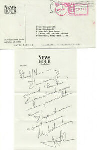 1997 JIM LEHRER SIGNED NOTE ON 'NEWS HOUR' STATIONERY! ENVELOPE TOO! AUTOGRAPH!
