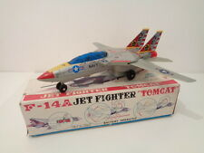 """VINTAGE TINPLATE F-14a JET FIGHTER """"TOMCAT"""" BATTERY OPERATED -SON AI TOYS- WORKS"""
