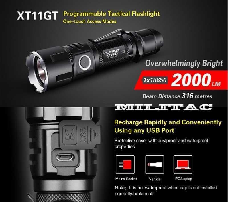 Klarus xt11gt 2000 Lumen Ricaricabile Tattica Torcia + batteria + STAFFA