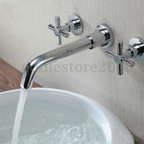 Double Handle Wall Mount Sink Bathroom Basin 360° Swivel Spout Faucet Mixer