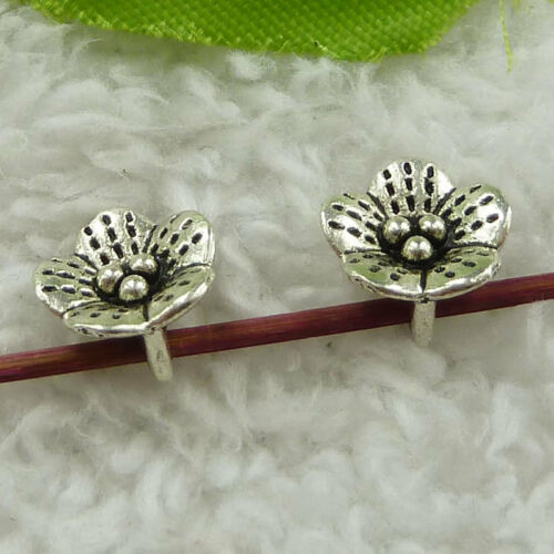 Free ship 360 pieces tibet silver flower charms 11x6mm B3716