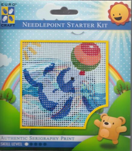 "NeedleArt World Balancing Seal Beach Beginner Needlepoint Starter Kit 4/"" x 4/"""