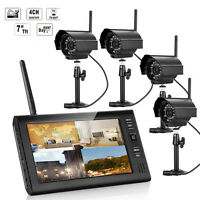 Wireless 4ch Quad Home Outdoor Security System Digital Cameras + Lcd Monitor