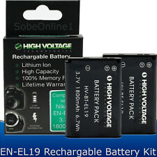 2 EN-EL19 Battery for Nikon Coolpix S100 S3100 S3300 S4100 S4300 S6500 1800mAh