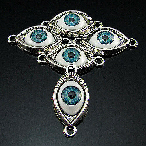 Free 5PCS Tibetan Silver Acrylic Crafts evil eye spacer Pendant Connectors 30mm