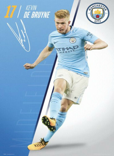 Official Manchester City De-Bruyne 1718 Maxi Poster 91.5 x 61cm The Sky Blue