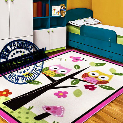 Nursery Pink Rug Kids Playroom Carpet Baby Girls Bedroom Cute Owls Soft Play Mat