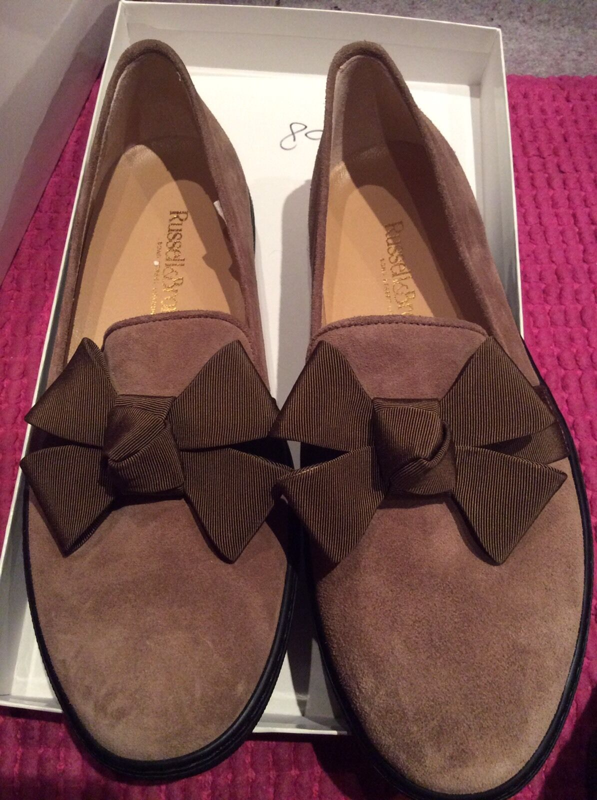 RUSSELL AND BROMLEY-Taille 37-Taille 4-Rrp -Marron Baskets Avec Noeud