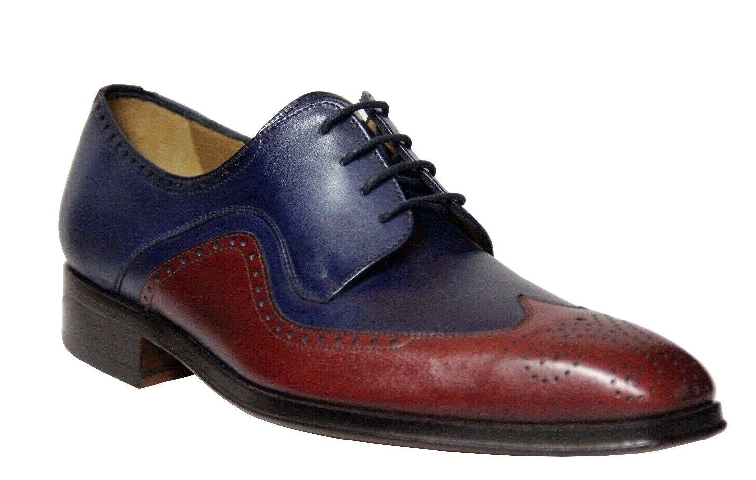 fino al 60% di sconto Mister Uomo Oxford Navy Wine Leather Dress scarpe 35651 Made Made Made In Spain  negozio di sconto