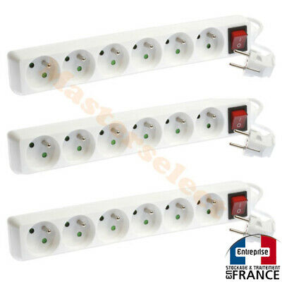 3 x Multiprises Bloc 6 prises avec interrupteur secteur 230v 3500w max 16A !