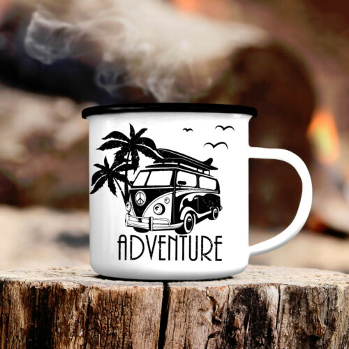 Vasos de camping descubrimos con palmeras cb318 outdoor esmaltes vaso Adventure furgoneta VW