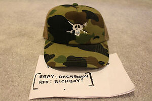 Details about  NEW  DS Bape x Stussy Green Camo Skull 30th Anni. Trucker Hat  - A Bathing Ape f66543903fa6