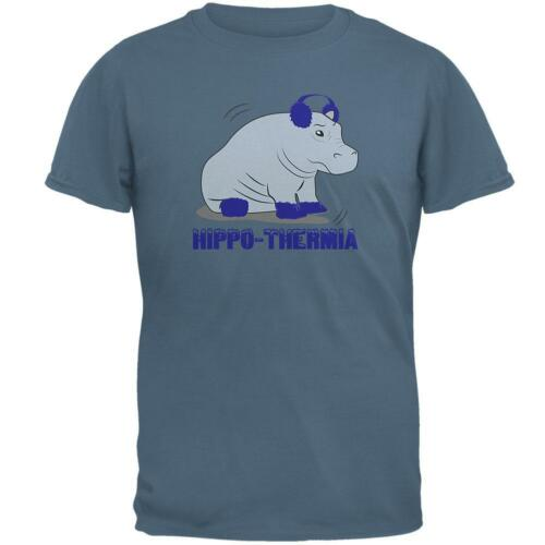 Hippo Hippothermia Cold Winter Funny Mens T Shirt