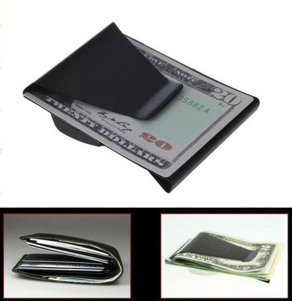 Black Slim Stainless Steel Double Sided Money Clip Wallet Credit Card ID Holder