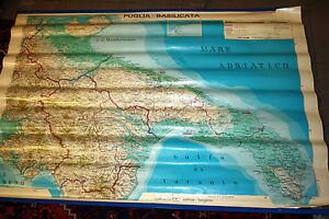 Cartina Geografica Fisica Puglia.Cartina Geografica Scolastica Puglia Basilicata Fisica Bifacciale Anni 80 Ebay