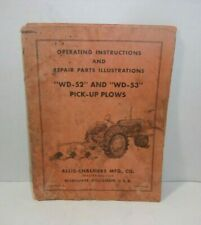 Vintage Allis Chalmers Wd 52 Wd 53 Pick Up Plow Operators Repair Parts Manual