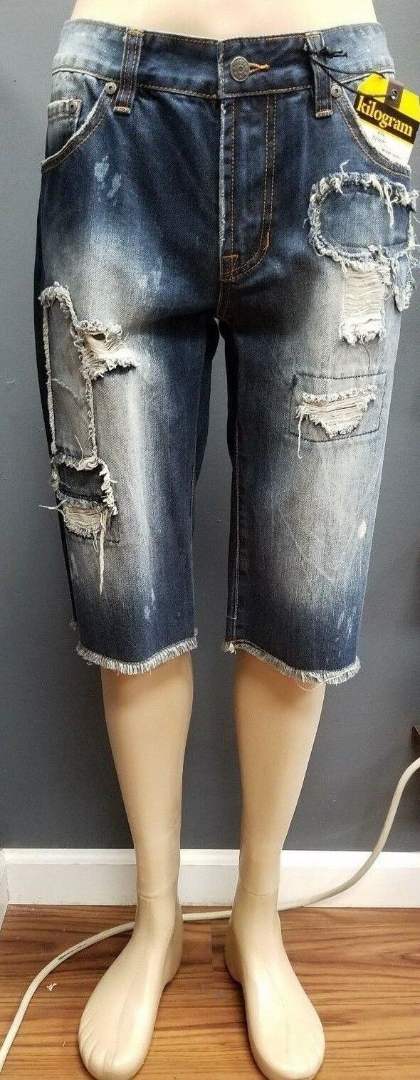 Men's Kilogram Jean Shorts Pants - Dark bluee