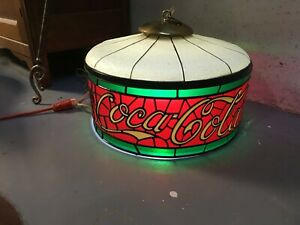 Vintage Coca-Cola Faux Stained Glass Light Coke Hanging Swag Tiffany Lamp