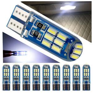 10x Silicon T10 168 LED Bulb W5W Interior Wedge Light Super Bright White 8000K