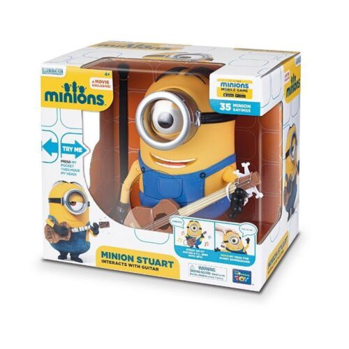 35 SAYINGS MOVEABLE HEAD TALKING MINION STUART INTERACTS WITH GUITAR MINIONS