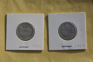 Guatemala-Lot-of-2-coins-2-Reales-Rafael-Carrera-1864-1867-Silver