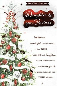DAUGHTER AND PARTNER CHRISTMAS CARD With MULTI PAGE INSERT & Lovely Words