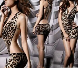 Robe-courte-leopard-sexy-Night-Club-Dos-nus-decollete-chainette-dans-le-dos-S