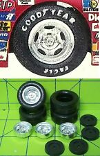 TIRES - FORD 5 HOLE RIM with RAISED LETTER GOODYEAR RACING TIRES  - 1/24