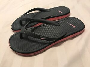 aec728e716f78 Nike Girls Flip Flops Size 1Y 1 Youth Black Pink Thong Sandals SC8 ...
