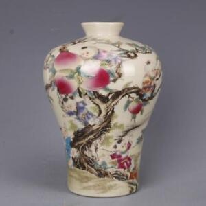 China-old-porcelain-vase-Pink-Nine-sons-climbing-peach-plum-pattern-Tumei-Bottle
