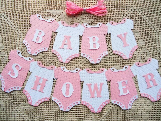 10 Bunting Flags Banners Garland BABY SHOWER Pink White Girl DIY B3
