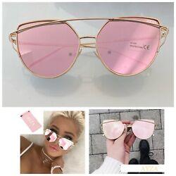 AYZA Katzenauge Cateye Sonnenbrille Damen Rosagold Verspiegelt Brillentasche