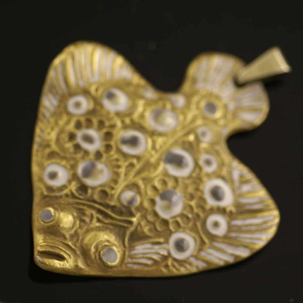 Vintage Danish Porcelain Fish Pendant - Royal Copenhagen - A. Michelsen